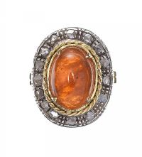 18CT GOLD AMBER AND DIAMOND RING at Ross's Jewellery Auctions