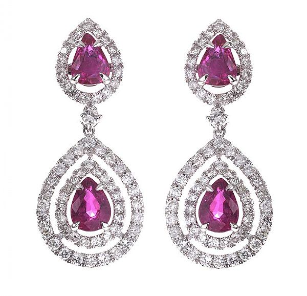 14CT WHITE GOLD RUBY AND DIAMOND DROP EARRINGS at Ross's Online Art Auctions