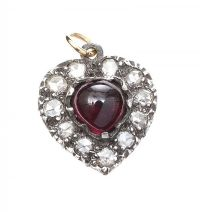 9CT GOLD HEART-SHAPED CHARM SET WITH GARNET AND DIAMOND at Ross's Jewellery Auctions