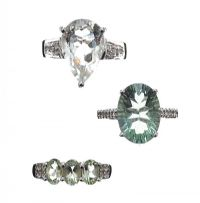 THREE GEM-SET STERLING SILVER RINGS at Ross's Jewellery Auctions
