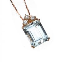 18CT ROSE GOLD AQUAMARINE AND DIAMOND PENDANT AND CHAIN at Ross's Jewellery Auctions