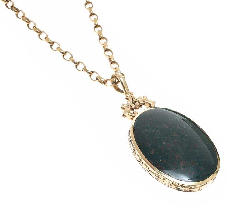 9CT GOLD HARDSTONE-SET FOB AND CHAIN at Ross's Online Art Auctions