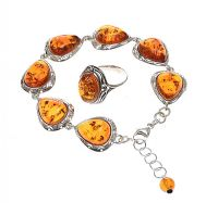 STERLING SILVER SUITE WITH BALTIC AMBER at Ross's Jewellery Auctions