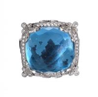 18CT WHITE GOLD BLUE TOPAZ AND DIAMOND RING at Ross's Jewellery Auctions