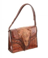 VINTAGE TAN LIZARD LEATHER HANDBAG at Ross's Jewellery Auctions