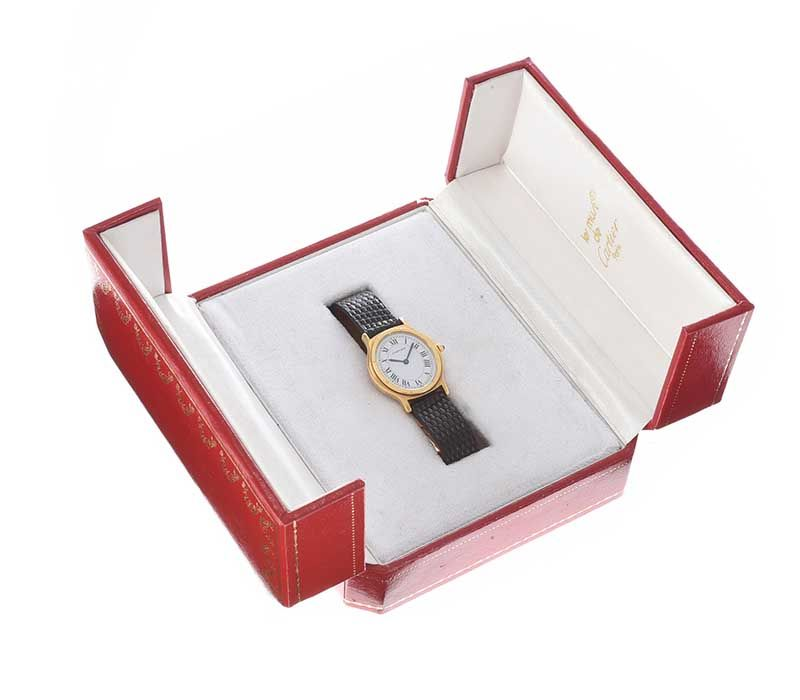 CARTIER 18CT GOLD-CASED LADY'S WRIST WATCH at Ross's Online Art Auctions