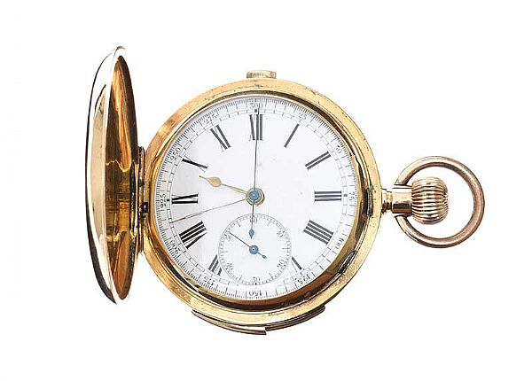 18CT GOLD FULL-HUNTER POCKET WATCH at Ross's Online Art Auctions