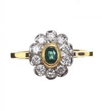 18CT GOLD EMERALD AND DIAMOND CLUSTER RING at Ross's Jewellery Auctions