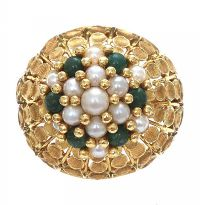 18CT GOLD PEARL AND JADE RING at Ross's Jewellery Auctions