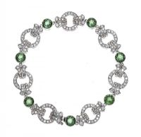 18CT WHITE GOLD BRACELET SET WITH DIAMOND AND GREEN TOURMALINE at Ross's Jewellery Auctions