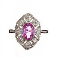 18CT WHITE GOLD PINK SAPPHIRE AND DIAMOND RING at Ross's Jewellery Auctions