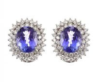 18CT WHITE GOLD TANZANITE AND DIAMOND CLUSTER EARRINGS at Ross's Jewellery Auctions