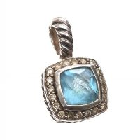 DAVID YURMAN STERLING SILVER BLUE TOPAZ AND DIAMOND PENDANT at Ross's Jewellery Auctions