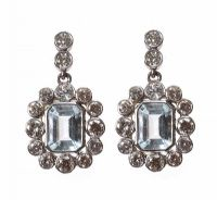 18CT WHITE GOLD AQUAMARINE AND DIAMOND DROP EARRINGS at Ross's Jewellery Auctions