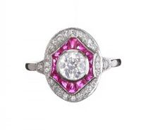 18CT WHITE GOLD RUBY AND DIAMOND RING IN THE STYLE OF ART DECO at Ross's Jewellery Auctions