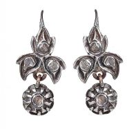 GEORGIAN SILVER-ON-GOLD ROSE-CUT DIAMOND 'BOB' EARRINGS at Ross's Jewellery Auctions