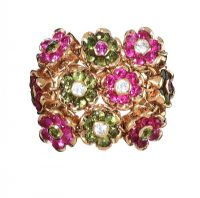 18CT GOLD DIAMOND, PERIDOT AND PINK TOURMALINE RING at Ross's Jewellery Auctions