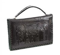 VINTAGE DARK-GREEN LEATHER HANDBAG OF EGYPTIAN THEME at Ross's Jewellery Auctions