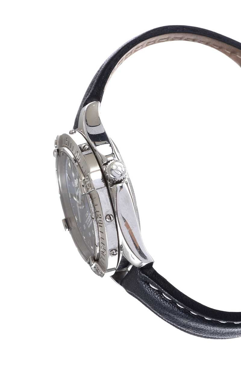 BRIETLING 'COLT' STAINLESS STEEL GENT'S WRIST WATCH WITH LEATHER STRAP, ALSO WITH ORIGINAL BRACELET STRAP at Ross's Online Art Auctions