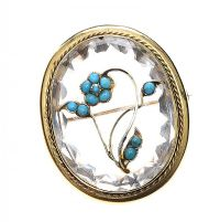 18CT GOLD VICTORIAN ROCK CRYSTAL AND TURQUOISE 'FORGET ME NOT' BROOCH by Turquoise at Ross's Auctions