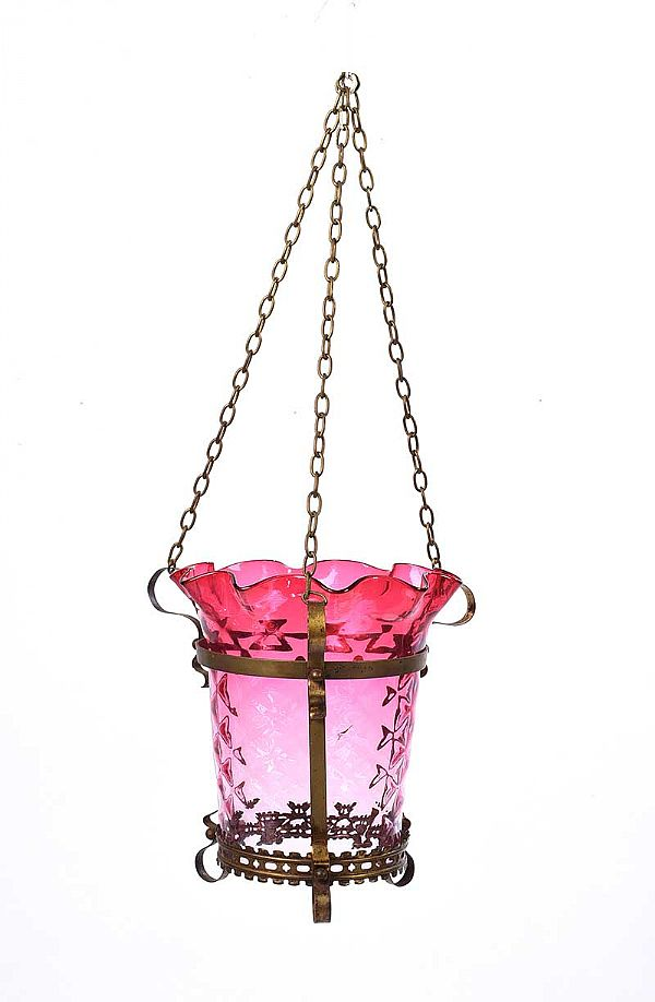 RUBY GLASS HALL LANTERN at Ross's Online Art Auctions