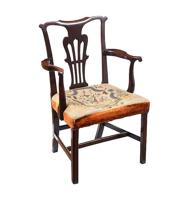 GEORGIAN MAHOGANY ARMCHAIR at Ross's Online Art Auctions