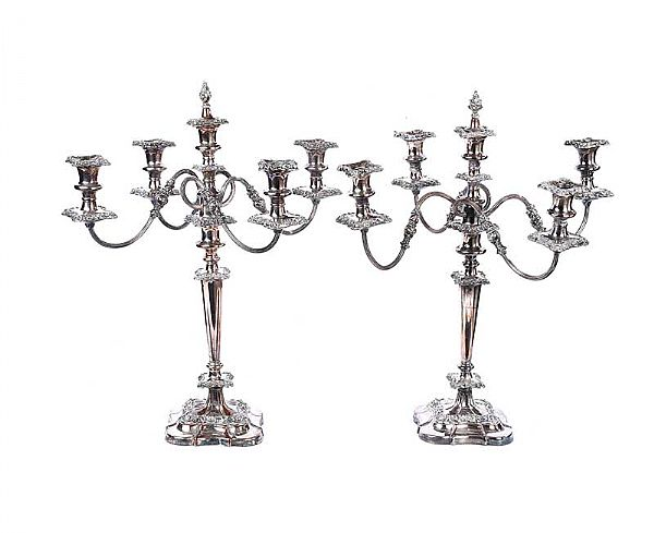 PAIR OF VICTORIAN EPNS CANDELABRA at Ross's Online Art Auctions