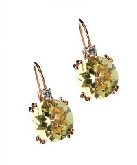 18CT ROSE GOLD LEMON QUARTZ AND DIAMOND EARRINGS at Ross's Jewellery Auctions