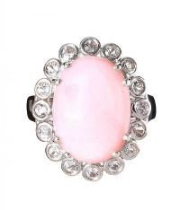 STERLING SILVER PINK JADE AND WHITE TOPAZ DRESS RING at Ross's Jewellery Auctions