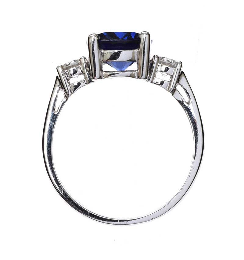 18CT GOLD SAPPHIRE AND DIAMOND THREE STONE RING at Ross's Online Art Auctions