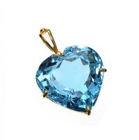 18CT GOLD TOPAZ HEART PENDANT at Ross's Jewellery Auctions