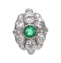 ANTIQUE PLATINUM EMERALD AND DIAMOND RING at Ross's Auctions