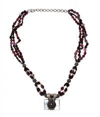 STERLING SILVER GARNET, SEED PEARL AND MOTHER OF PEARL NECKLACE at Ross's Jewellery Auctions