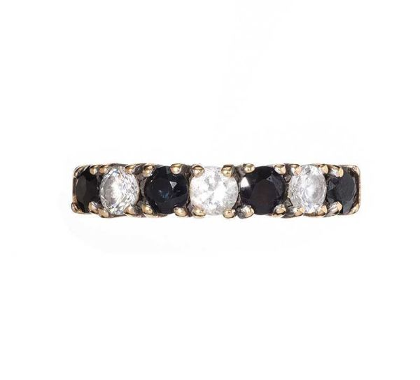9CT GOLD SAPPHIRE AND CUBIC ZIRCONIA HALF-ETERNITY RING at Ross's Online Art Auctions