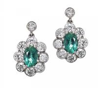 18CT WHITE GOLD DIAMOND AND EMERALD EARRINGS at Ross's Auctions