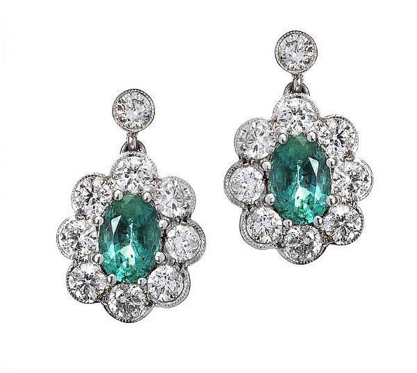 18CT WHITE GOLD DIAMOND AND EMERALD EARRINGS at Ross's Online Art Auctions