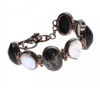 STERLING SILVER SAPPHIRE MATRIX AND BLISTER PEARL BRACELET at Ross's Auctions