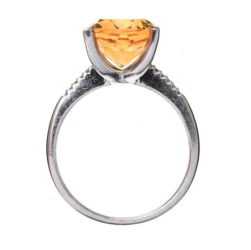 9CT WHITE GOLD CITRINE AND DIAMOND RING at Ross's Online Art Auctions