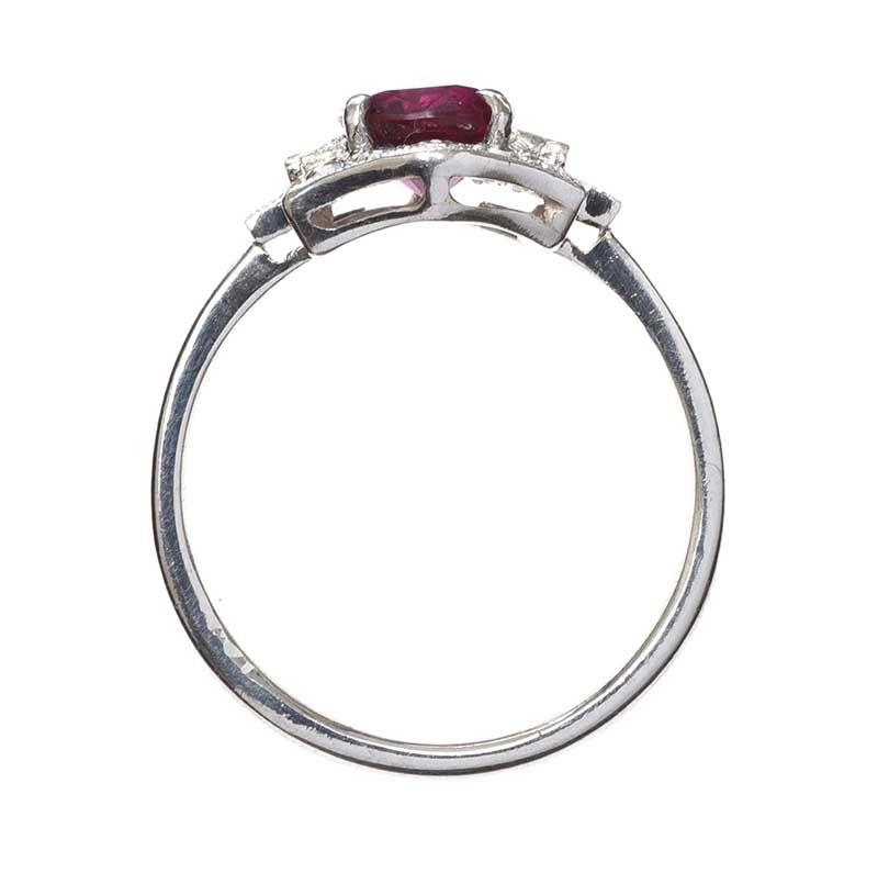 ART DECO 18CT WHITE GOLD RUBY AND DIAMOND CLUSTER RING at Ross's Online Art Auctions