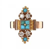 VICTORIAN 9CT GOLD DIAMOND AND TURQUOISE RING by Turquoise at Ross's Auctions