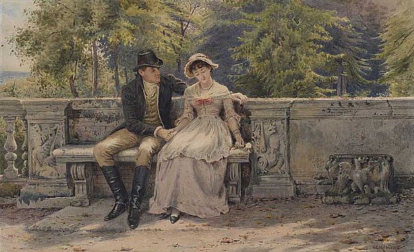 THE TRYST by George Goodwin Kilburne at Ross's Online Art Auctions