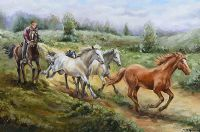 CHASING WILD HORSES by Stephen Brown at Ross's Auctions