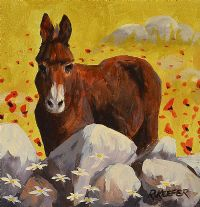 DONKEY BY THE STONE WALL by Ronald Keefer at Ross's Auctions