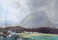 TENDING THE SHEEP by Frank McKelvey RHA RUA at Ross's Auctions