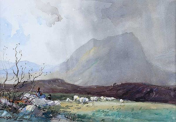 TENDING THE SHEEP by Frank McKelvey RHA RUA at Ross's Online Art Auctions