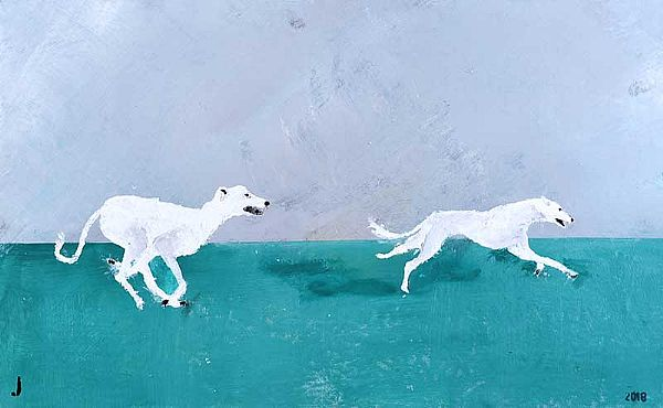 GREYHOUNDS CHASING THE HARE by Jeff Adams at Ross's Online Art Auctions