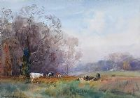 CATTLE GRAZING NEAR THE RIVER LAGAN by Frank McKelvey RHA RUA at Ross's Auctions