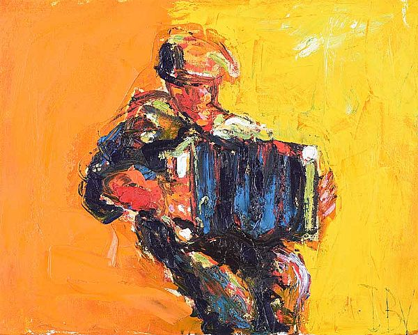 THE ACCORDION PLAYER by J.B. Vallely at Ross's Online Art Auctions