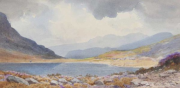 THE BLUE LAKE IN THE MOURNES by Joseph William  Carey RUA at Ross's Online Art Auctions