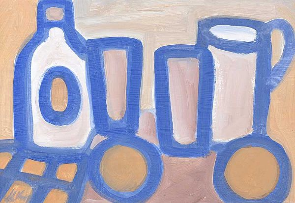 STILL LIFE, BOTTLES & A JUG by Markey Robinson at Ross's Online Art Auctions